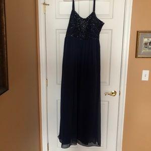 David's Bridal Long & Beaded Blue Prom Dress